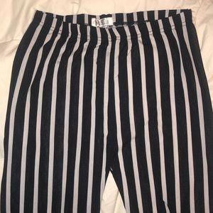 Black and white striped leggings.